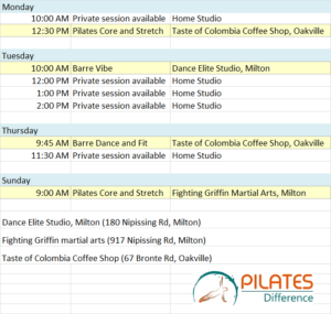 Pilates Difference class schedule